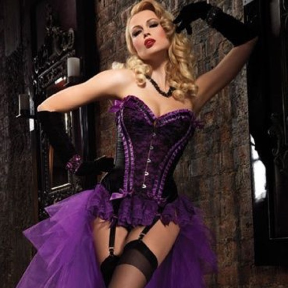 2d14910894 Leg Avenue Other - Burlesque purple and black corset by Leg Avenue
